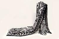 Шарф штапель Joya 180 х 90 см Черный с бежевым 132019, КОД: 390678