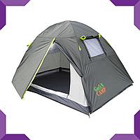 Палатка 2-х местная GreenCamp, 210 х 200,  серая