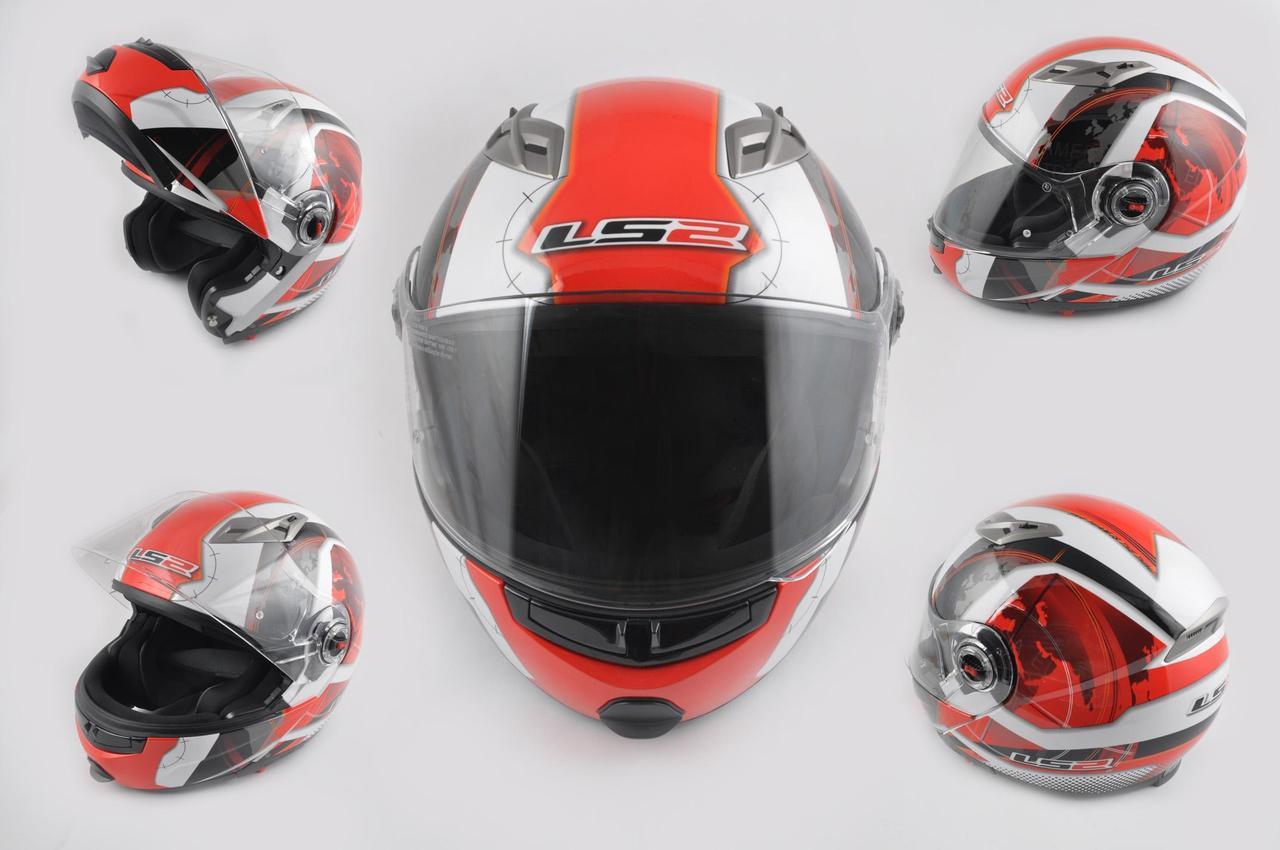 Мотошлем, Мотоциклетный шлем  трансформер (Размер:XL, красно-белый, + солнцезащитные очки, EUROPE) LS-2