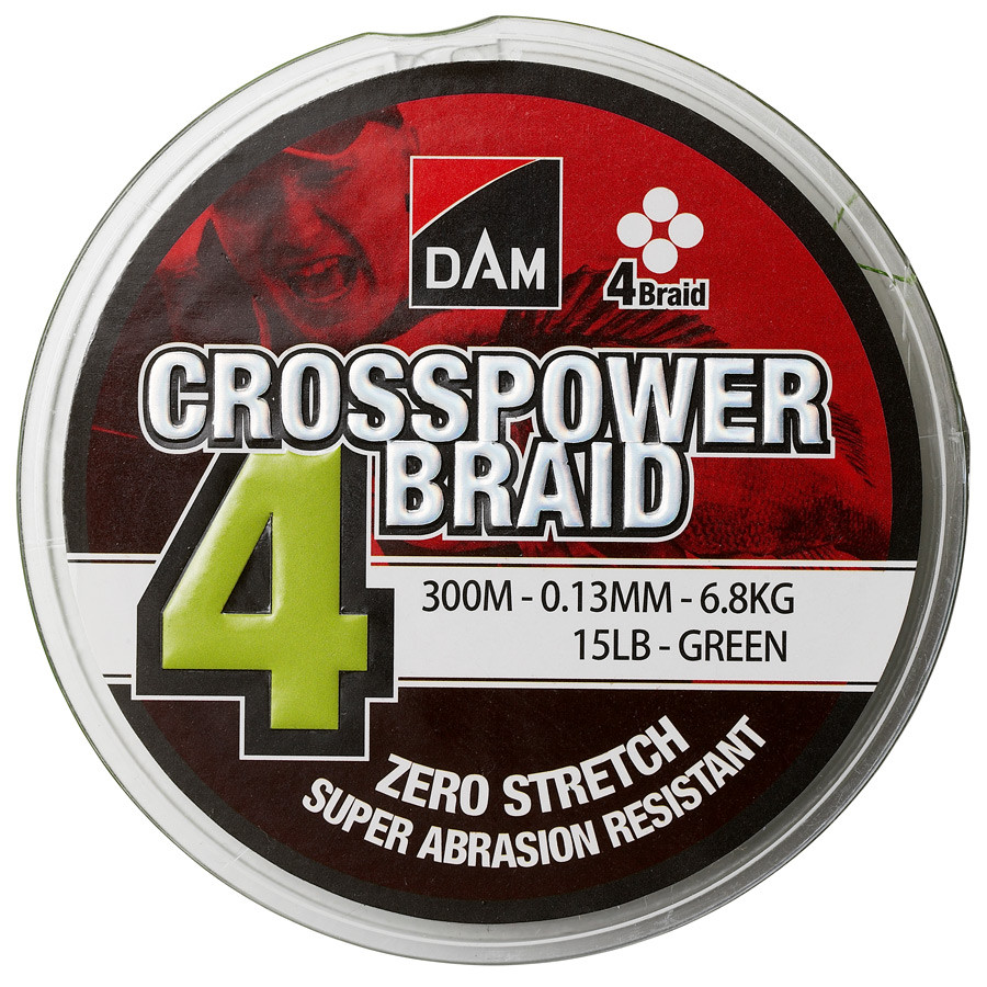 Шнур DAM Crosspower 4-Braid 300м 0,17мм 9,0кг/20Lb (green)