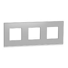Рамка 3-пост. горизонт. Unica Pure Алюміній матовий/білий