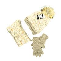 Комплект шапка, снуд, перчатки Suve 7-12 лет Коричневый TUR 51231 brown, КОД: 1469445