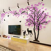 3D интерьерная наклейка Розовое дерево 2х4 м Фиолетовый hubaxPi32645, КОД: 1379774
