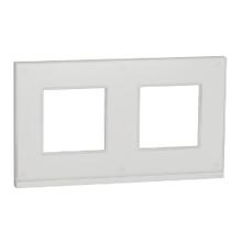Рамка 2-пост. горизонт. Unica Pure Біле скло/білий