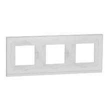 Рамка 3-пост. горизонт. Unica Pure Біле скло/білий