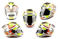 Мотошлем, Мотоциклетный шлем Интеграл (full-face) (mod:G346) (Размер:L, белый)  ГС (GS) B