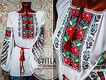 Вишукана жіноча вишиванка у білому кольорі на довгий рукав із вишитими квітами «Борщівські троянди»