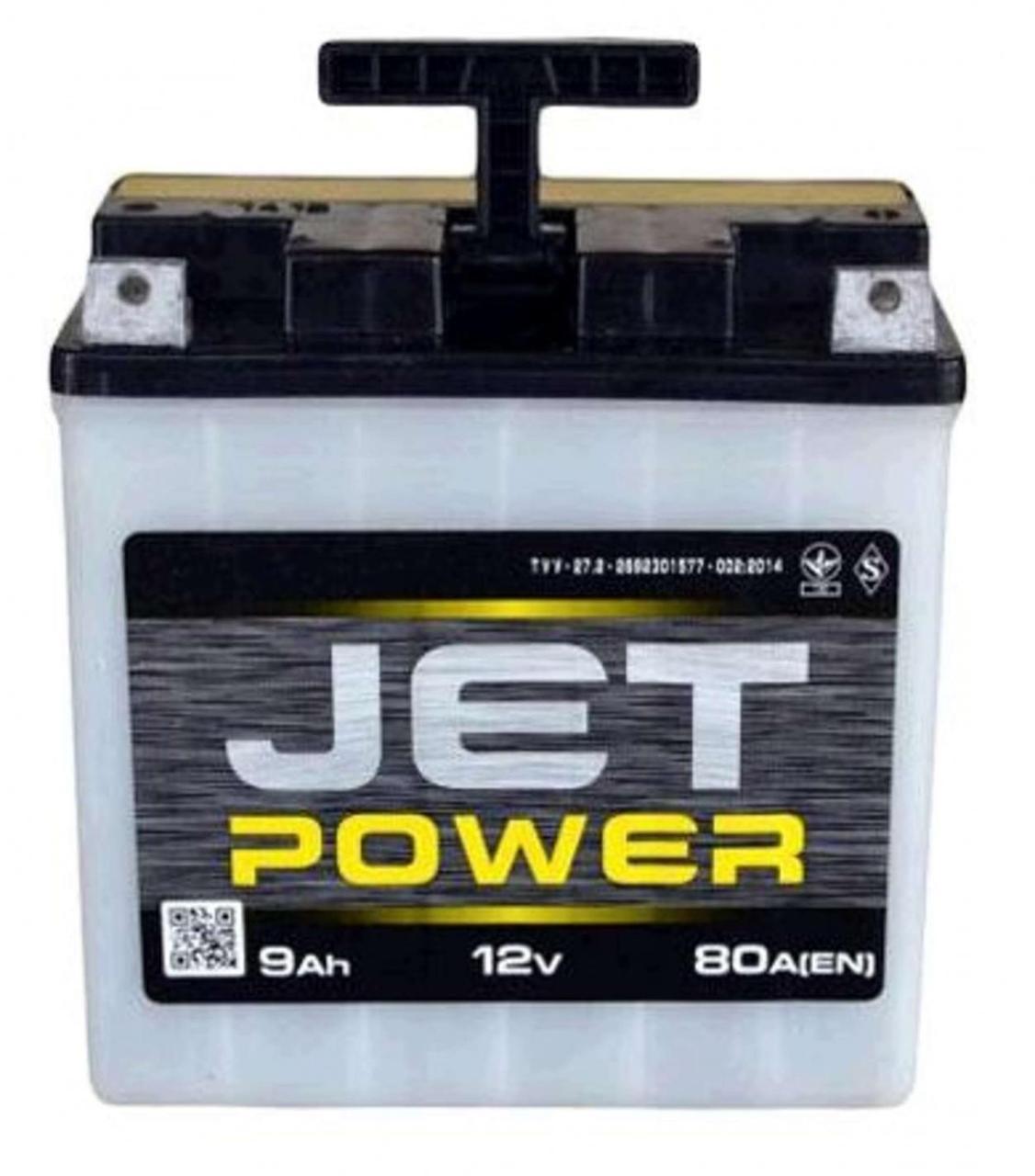 Мото аккумулятор АКБ (Аккумулятор на скутер, мотоцикл, мопед) 12В (V) 9А заливной JET POWER (под болт) (#VOV)