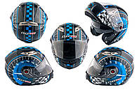 Мотошлем, Мотоциклетный шлем  трансформер (Размер:ХL, сине-черный + солнцезащитные очки) LS-2