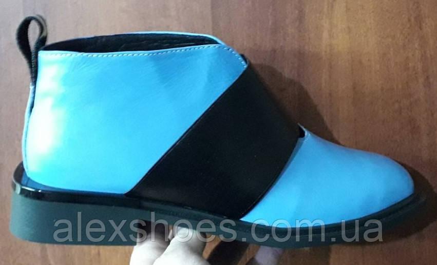 Ботинки демисезонные на низком каблуке из натуральной кожи от производителя модель БФ230-5