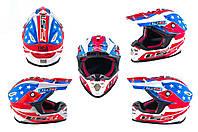 Мотошлем, Мотоциклетный шлем  Кроссовый - Эндуро - АTV (mod:MX456) (Размер:L, сине-белый, USA) LS-2