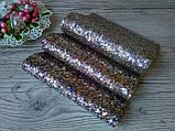 Эко кожа (кожзам) крупный блеск -  золотой микс (с малиновыми и синими вкраплениями) 19 на 30 см. - 25 грн, фото 2