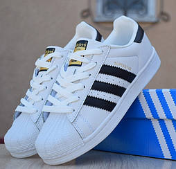 Женские кроссовки Adidas SuperStar белые/черные полоски 36-40р. Живое фото. Реплика