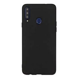 Чехол накладка для Samsung Galaxy A20s A207 силиконовый матовый, Fresh Series, Черный
