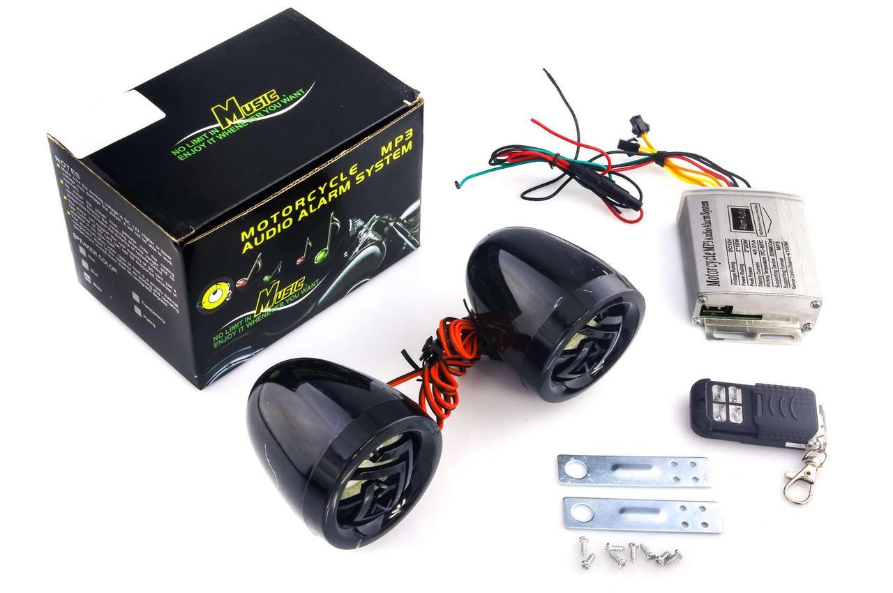 Аудиосистема для мототехники, мотоакустика (2.5, черные, сигнализация, FM/МР3 плеер, ПДУ) Чезет