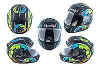Мотошлем, Мотоциклетный шлем Интеграл (full-face) (mod:FF352) (Размер:XL, черно-зеленый, STEREO) LS-2