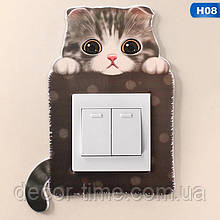 Детская наклейка на стену  (включатель, выключатель, розетку) Котик H08