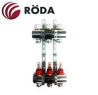 Коллекторная группа Roda на 2 выхода с расходомерами и термостатическими клапанами (латунь)