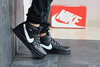 Мужские осенние высокие кроссовки Nike Air Force,черно-белые