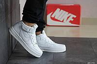 Мужские осенние высокие кроссовки Nike Air Force,белые