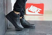Мужские осенние высокие кроссовки Nike Air Force,черные 41р