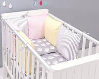 """Комплект постільних речей в ліжечко (9 предметів) """"Белль"""" (сірий/рожевий/жовтий), фото 1"""