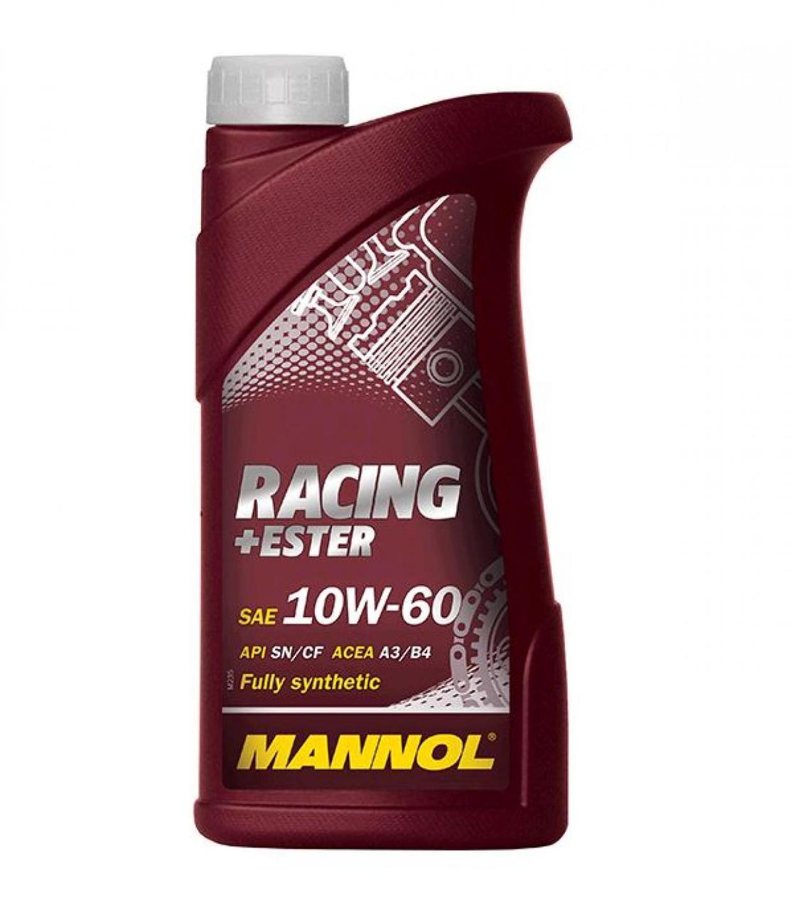 Масло 4Т Четырехтактное, 1л (SAE 10W-60, синтетика, Racing+Ester 10W-60 API SN/SM/CF) MANNOL