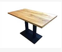 Комплект прямоугольных столов для кафе баров из массива дерева и ножки из металла, фото 1