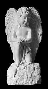 Ангелочек из искусственного мрамора стоящий на колене - 85 см