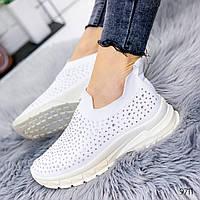Женские белые текстильные кроссовки-носки  Socks cо стразами, фото 1