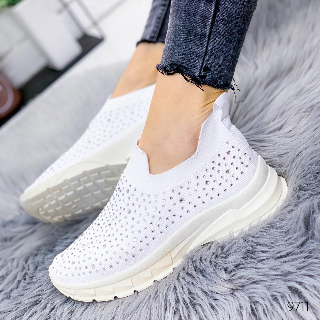 Женские белые текстильные кроссовки-носки  Socks cо стразами