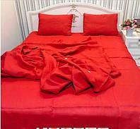 Льняная постель комплект KonopliUA 140х205 см Красный 1-092, КОД: 1529561