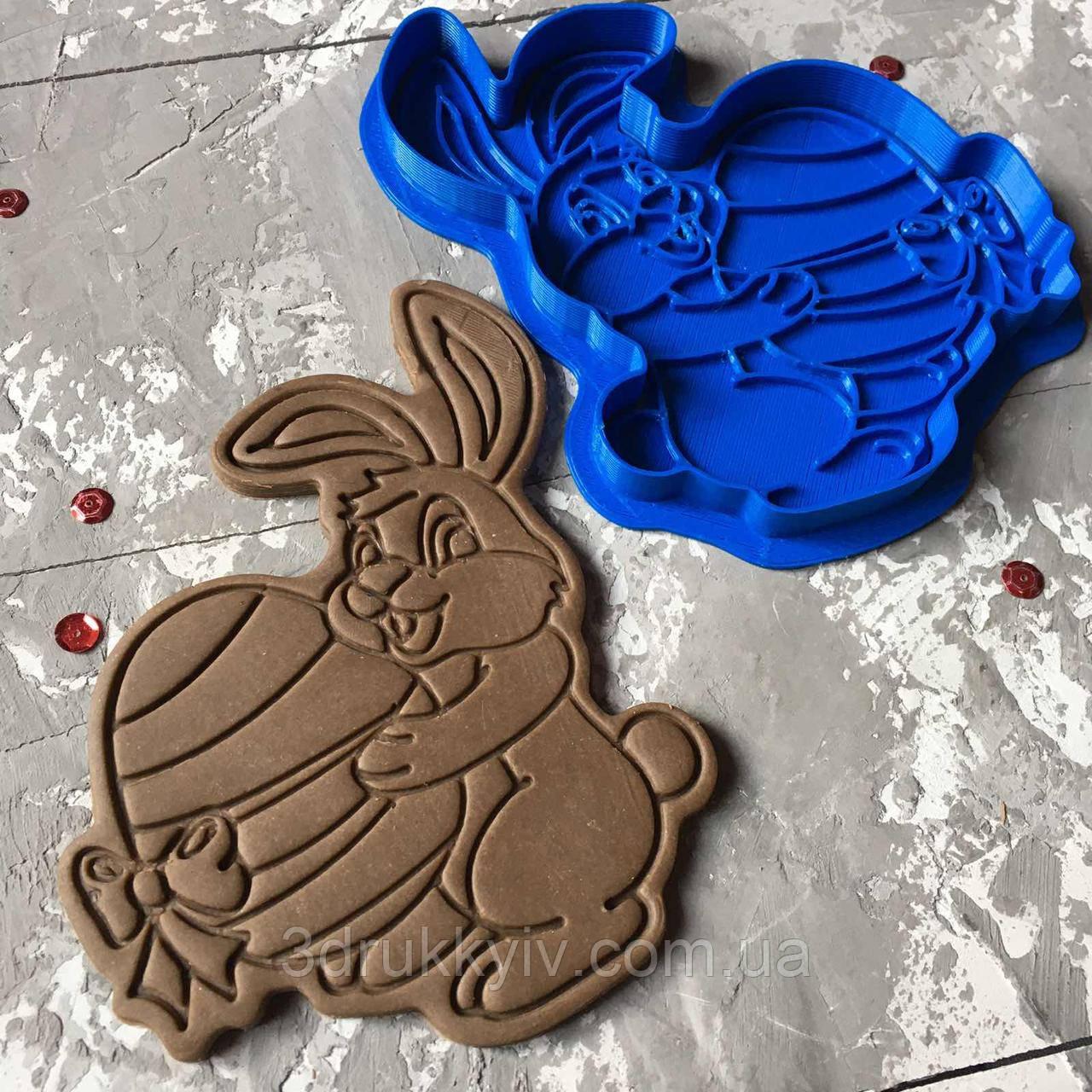 """Вирубка зі штампом """"Пасхальний кролик #1"""" / Вырубка - формочка со штампом для пряников"""
