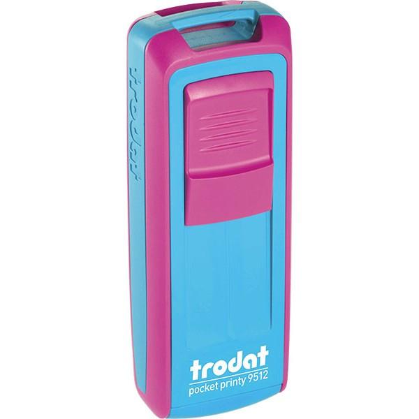 Оснастка для штампа пластиковая прямоугольная карманная Trodat Mobile Printy 9512 47х18 мм розово-голубая