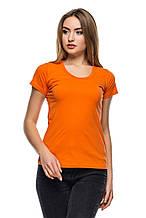 Футболка оранжевая женская с круглой горловиной
