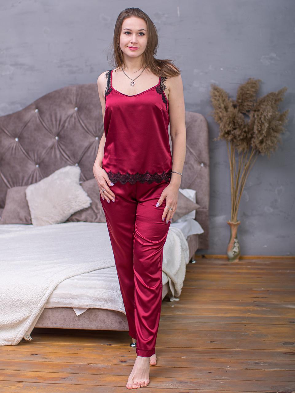 Пижама из крепа Армани Serenade марсала с черным кружевом