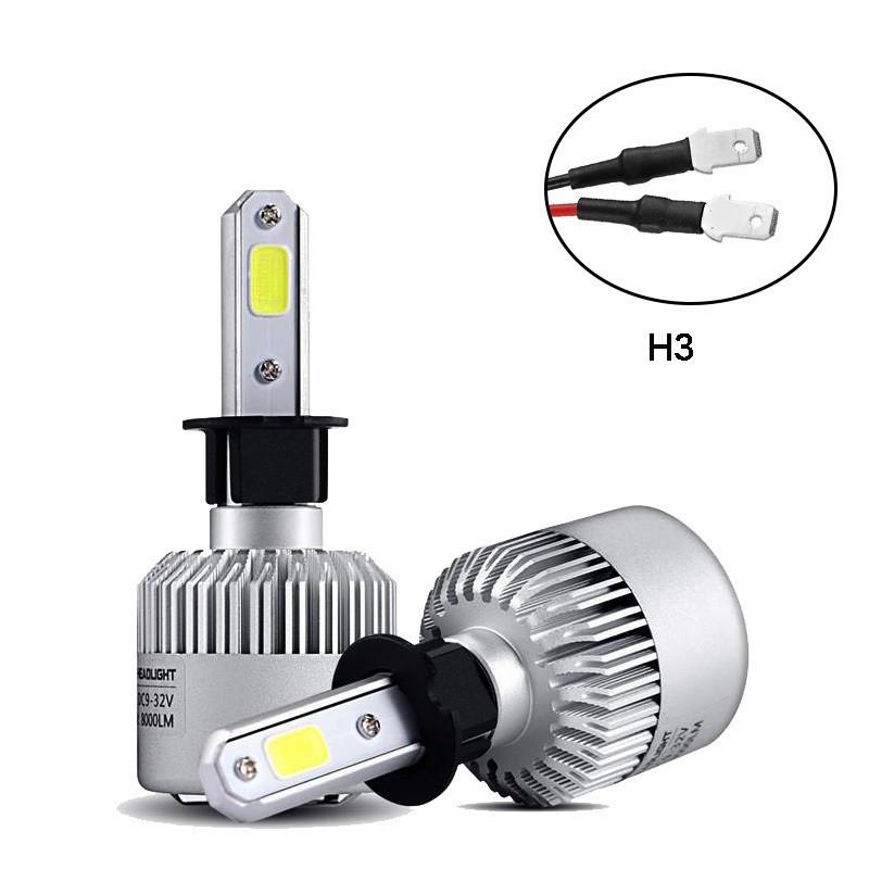 Светодиодная LED лампа головного света H3 COB 8000Lm 36Watt