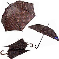 Стильный женский зонт-трость с коричневым куполом