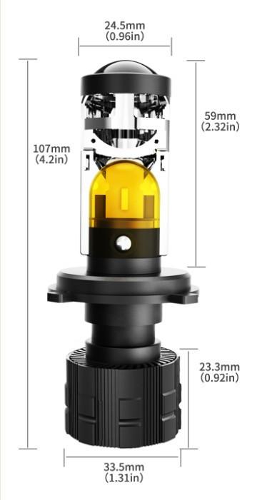Светодиодные LED линзы формата XS H4 Mini 72W /5700K  White/Yelow 5200/7200Lm (линзы H4 LED)