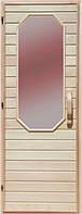 Деревянная дверь с матовым стеклом для сауны Украина 80х210 липа (вариант 2)