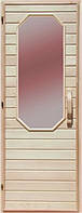 Деревянная дверь со стеклом для сауны Украина 80х190 липа (вариант 2)