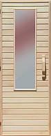 Деревянная дверь со стеклом для сауны Украина 80х210 липа
