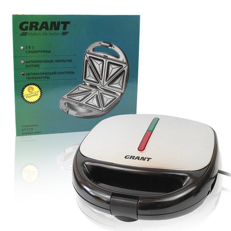 Сэндвичница GRANT GT 779 800W 3 в 1 белая (сэндвичница-гриль-вафельница)