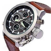 Наручные мужские армейские часы Amst Watch (коричневые)