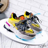 Женские кроссовки  на массивной подошве две пары шнурков желтые, фото 1