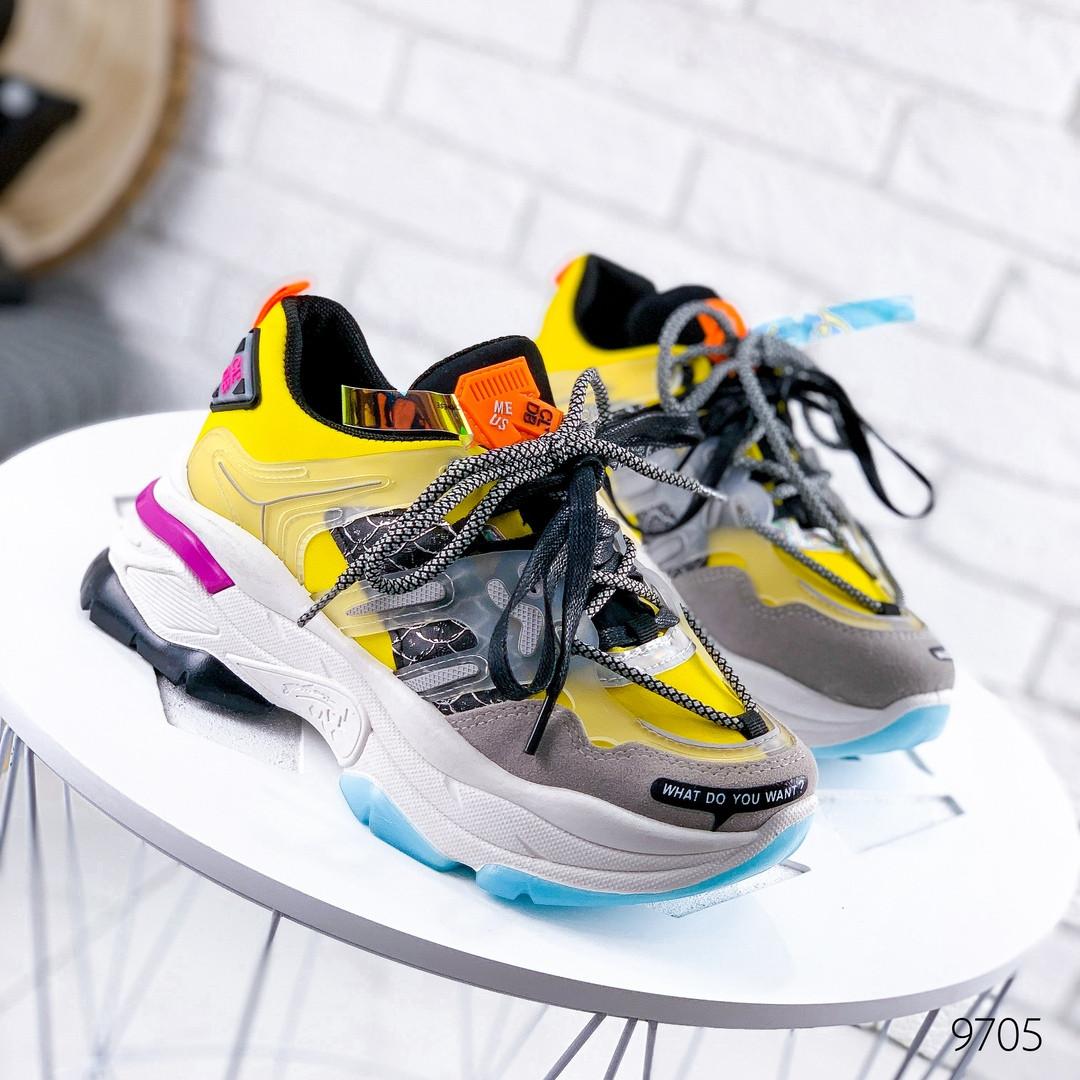 Женские кроссовки  на массивной подошве две пары шнурков желтые