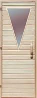 Деревянная дверь с матовым стеклом для сауны Украина 80х190 липа