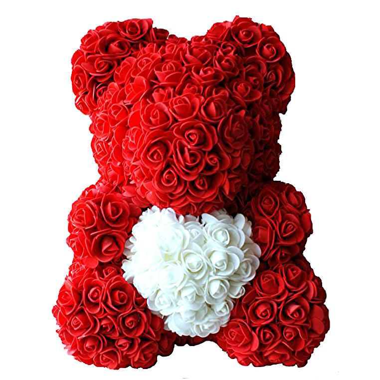 Мишка из роз 40 см (красный)