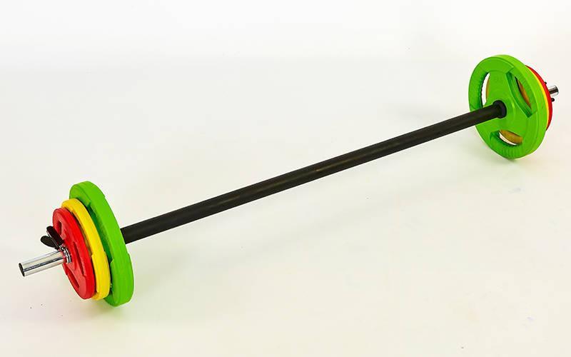 Штанга для фитнеса (фитнес памп)  20кг (гриф l-1,4м, d-28мм, обрезин.блины 2x(1,25+2,5+5кг)