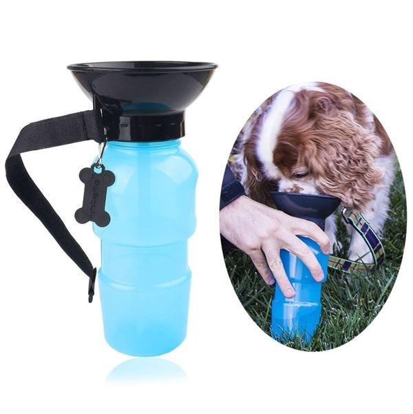 Прогулочная бутылка с поилкой для животных PET BOTTLE (синяя)